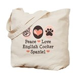 Peace Love English Cocker Spaniel Tote Bag