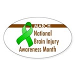 Brain Injury Month Oval Sticker