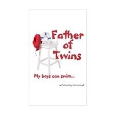 Father of Twins Boys Can Swim Sticker (Rectangular