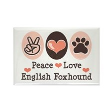 Peace Love English Foxhound Rectangle Magnet (10 p