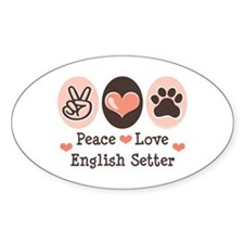 Peace Love English Setter Oval Decal