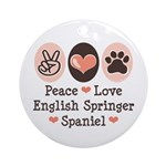 Peace Love Springer Spaniel Ornament (Round)