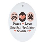 Peace Love Springer Spaniel Oval Ornament