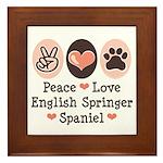 Peace Love Springer Spaniel Framed Tile