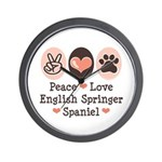 Peace Love Springer Spaniel Wall Clock