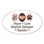 Peace Love Springer Spaniel Oval Sticker