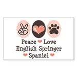 Peace Love Springer Spaniel Rectangle Sticker