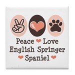Peace Love Springer Spaniel Tile Coaster