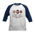 Peace Love Springer Spaniel Kids Baseball Jersey