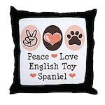 Peace Love Toy Spaniel Throw Pillow