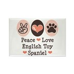 Peace Love Toy Spaniel Rectangle Magnet (10 pack)