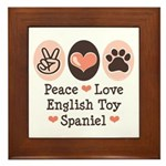 Peace Love Toy Spaniel Framed Tile