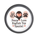 Peace Love Toy Spaniel Wall Clock