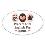 Peace Love Toy Spaniel Oval Sticker