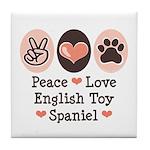Peace Love Toy Spaniel Tile Coaster