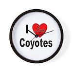 I Love Coyotes Wall Clock