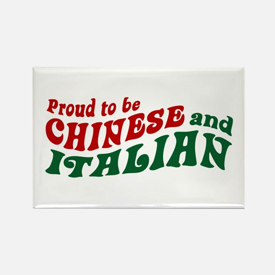 Proud Chinese and Italian Rectangle Magnet