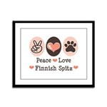 Peace Love Finnish Spitz Framed Panel Print