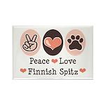 Peace Love Finnish Spitz Rectangle Magnet