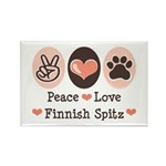 Peace Love Finnish Spitz Rectangle Magnet (10 pack