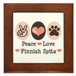 Peace Love Finnish Spitz Framed Tile