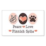Peace Love Finnish Spitz Rectangle Sticker