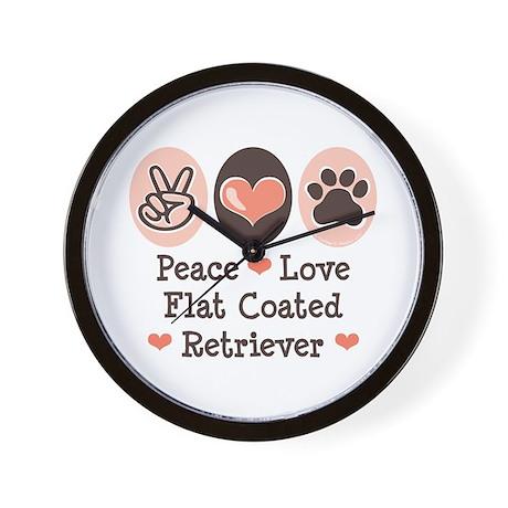 Peace Love Flatcoat Wall Clock