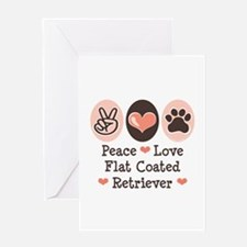 Peace Love Flatcoat Greeting Card