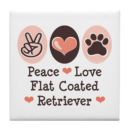 Peace Love Flatcoat Tile Coaster