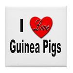I Love Guinea Pigs Tile Coaster