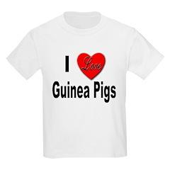 I Love Guinea Pigs (Front) Kids T-Shirt