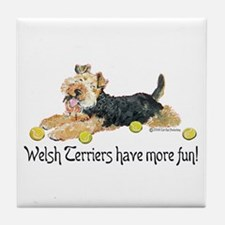 Welsh Terriers Fun Dogs Tile Coaster