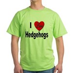 I Love Hedgehogs Green T-Shirt