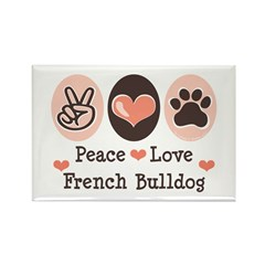 Peace Love French Bulldog Rectangle Magnet (10 pac