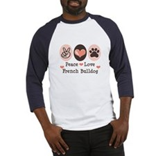 Peace Love French Bulldog Baseball Jersey