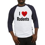 I Love Rodents (Front) Baseball Jersey