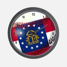 Baseball Georgia Flag Wall Clock