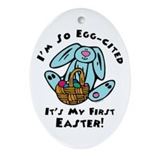 Eggcited 1st Easter Oval Ornament