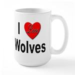 I Love Wolves Large Mug