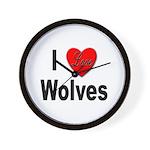 I Love Wolves Wall Clock