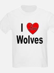 I Love Wolves (Front) Kids T-Shirt
