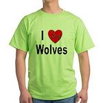 I Love Wolves Green T-Shirt
