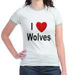 I Love Wolves (Front) Jr. Ringer T-Shirt