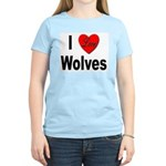 I Love Wolves (Front) Women's Pink T-Shirt