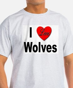 I Love Wolves (Front) Ash Grey T-Shirt
