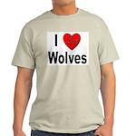 I Love Wolves (Front) Ash Grey T-Shirt