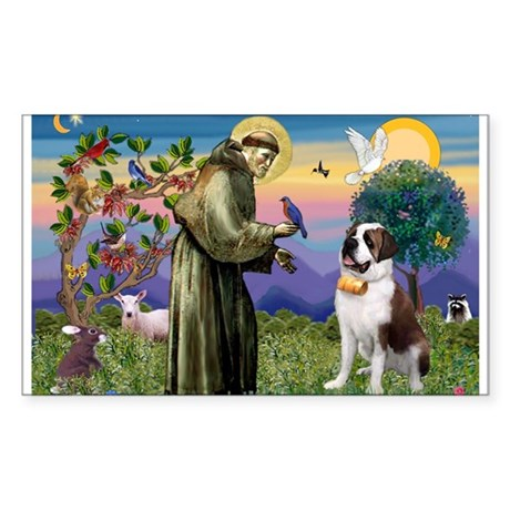 St. Francis & Saint Bernard Rectangle Sticker
