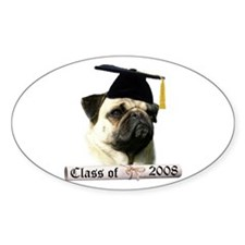 Pug Grad 08 Oval Decal