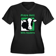Plays Well With Udders Women's Plus Size V-Neck Da