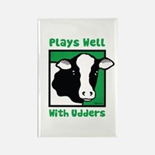 Plays Well With Udders Rectangle Magnet